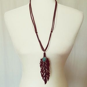 Long Leather-look Feather Necklace